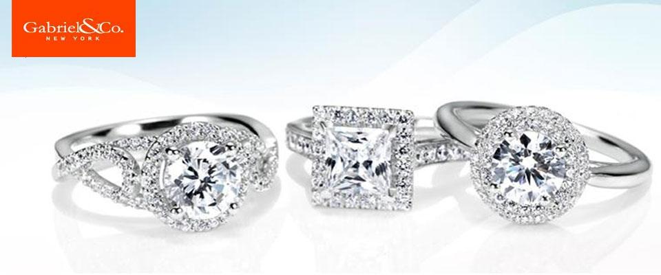 Gabriel & Co. Engagement Rings available at Dickinson Jewelers in Dunkirk and Frederick MD -